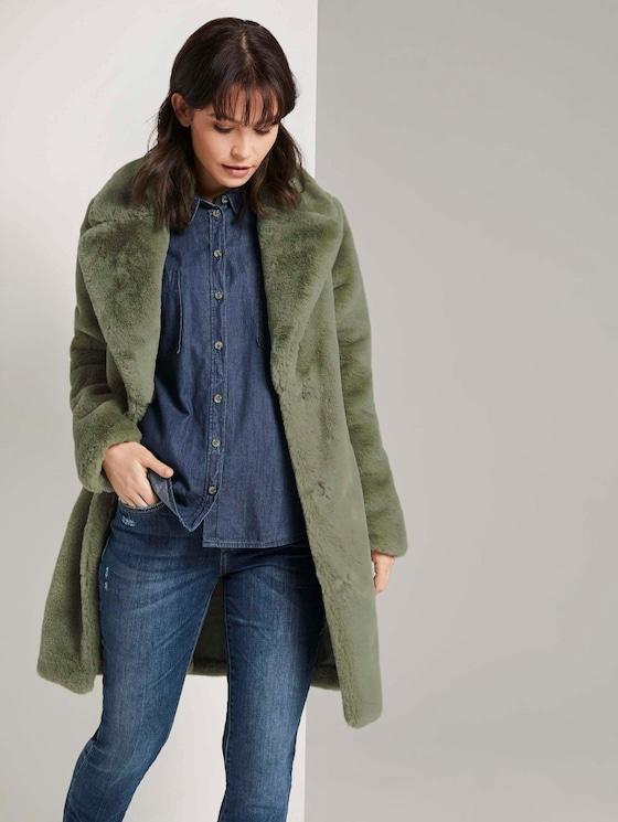 Weicher Faux-Fur Mantel - Frauen - greyish green - 5 - TOM TAILOR