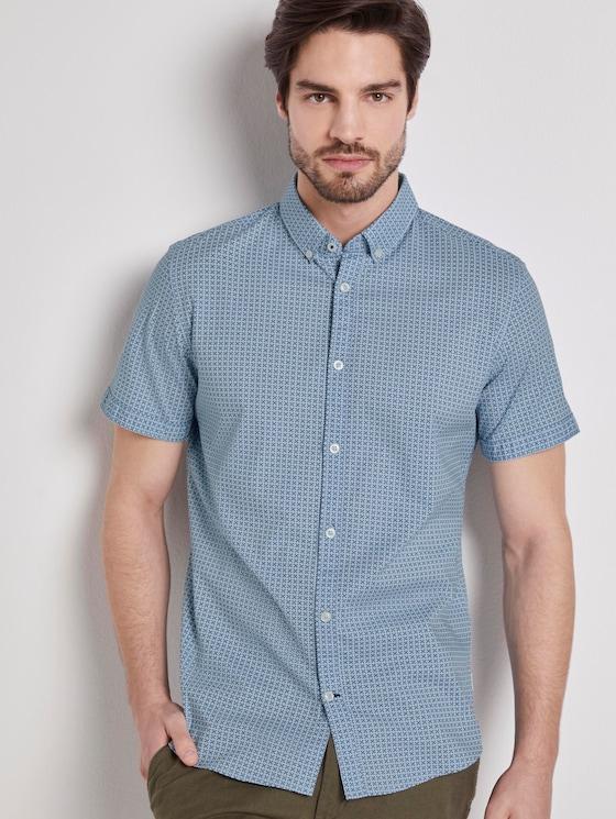 Patterned short-sleeved shirt - Men - light blue geometric design - 5 - TOM TAILOR