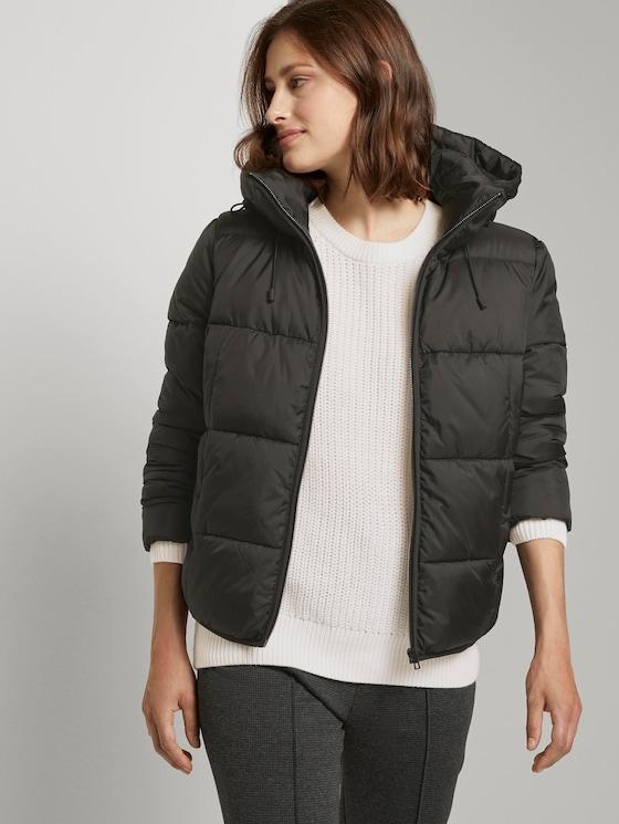 Short puffer jacket with a hood - Women - Deep Black - 5 - TOM TAILOR Denim
