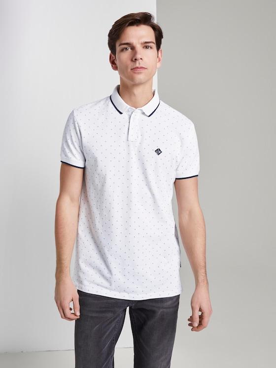 Poloshirt mit grafischem Alloverprint - Männer - white blue mint triangle print - 5 - TOM TAILOR Denim