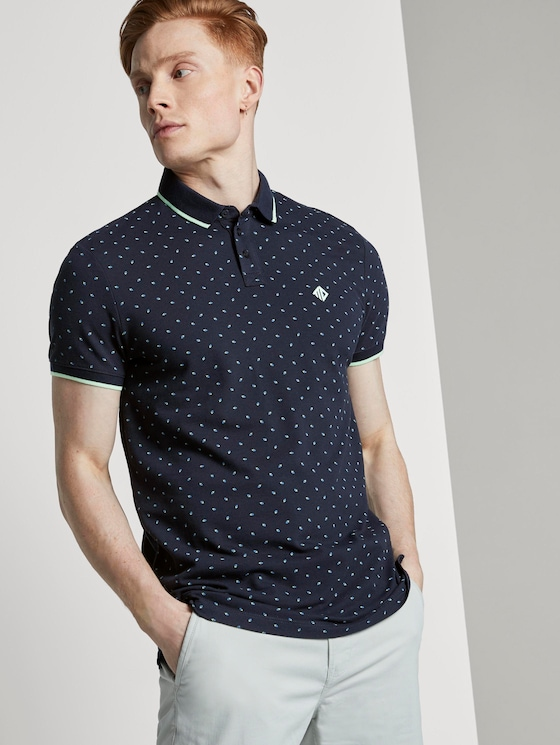 Poloshirt mit grafischem Alloverprint - Männer - navy blue mint triangle print - 5 - TOM TAILOR Denim