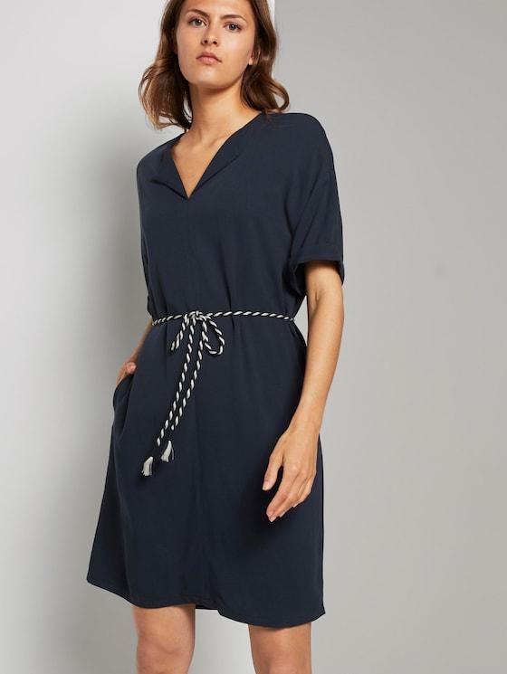 Loose dress with a drawstring belt - Women - Sky Captain Blue - 5 - TOM TAILOR