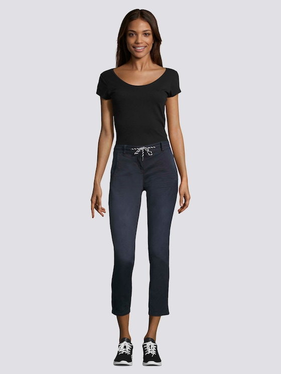 Tapered Relaxed Hose mit Tunnelzug - Frauen - Sky Captain Blue - 3 - TOM TAILOR