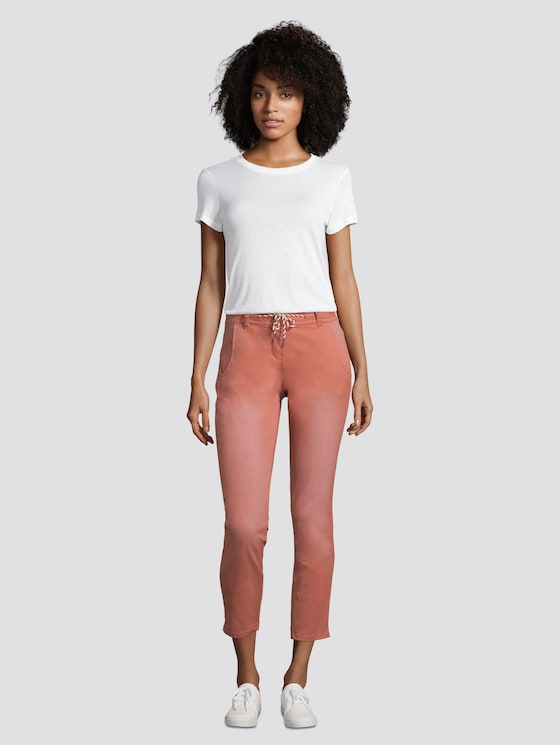 Tapered Relaxed Hose mit Tunnelzug - Frauen - copper red - 3 - TOM TAILOR
