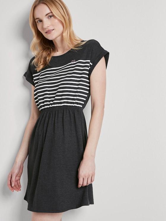 Maritimes Minikleid mit Streifenmuster - Frauen - Shale Grey Melange - 5 - TOM TAILOR Denim