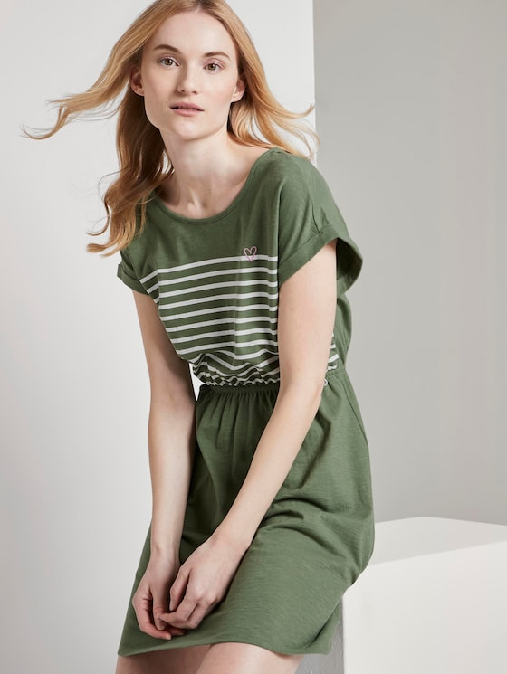 Maritime mini dress with a striped pattern - Women - olive green - 5 - TOM TAILOR Denim