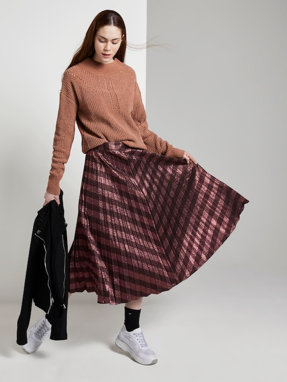 Plissierter Midi-Rock - Frauen - red pink diagonal lurex stripe - 3 - TOM TAILOR Denim