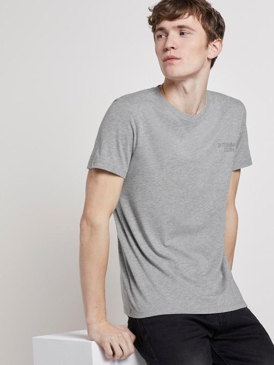 T-Shirt mit Reflekt-Print - Männer - Light Stone Grey Melange - 5 - TOM TAILOR Denim