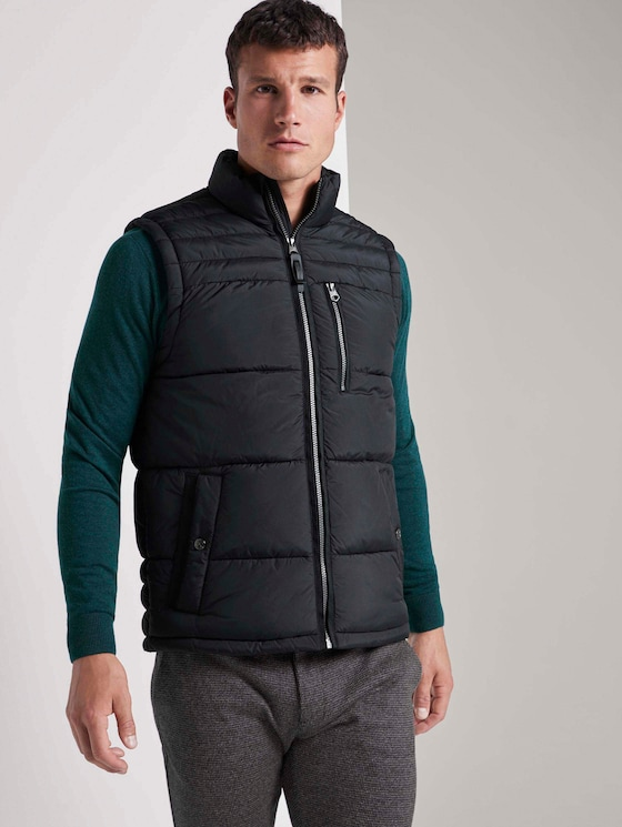 Quilted vest with a stand-up collar - Men - Black - 5 - TOM TAILOR