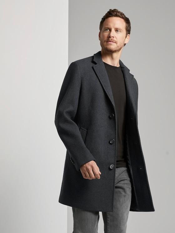 Classic wool coat - Men - navy blue structure - 5 - TOM TAILOR