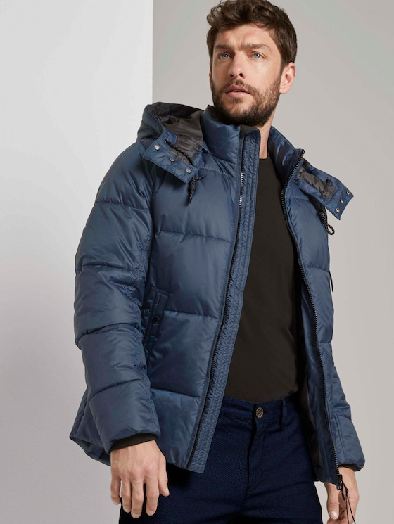 Puffer jas met hoodie - Mannen - Dark Denim Blue - 5 - TOM TAILOR