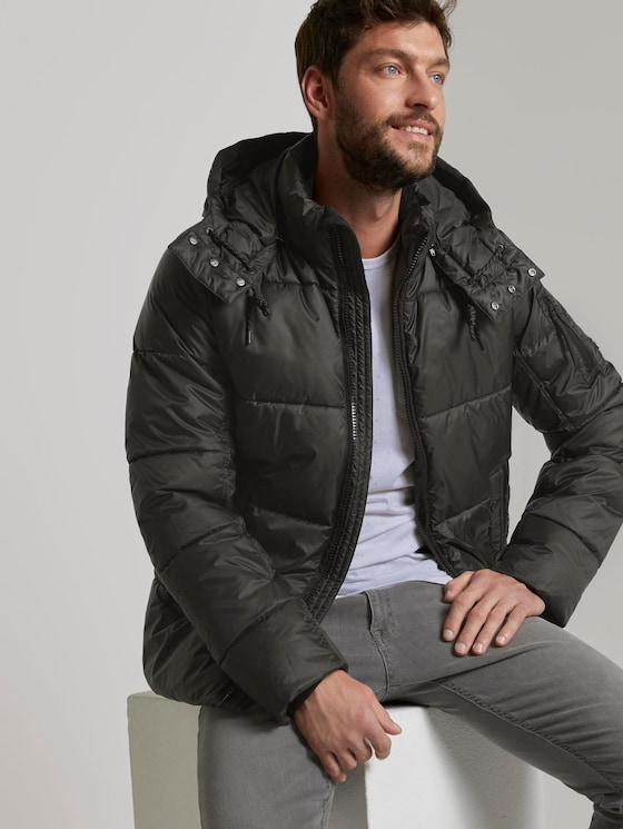 Pufferjacke mit Kapuze - Männer - Black - 5 - TOM TAILOR