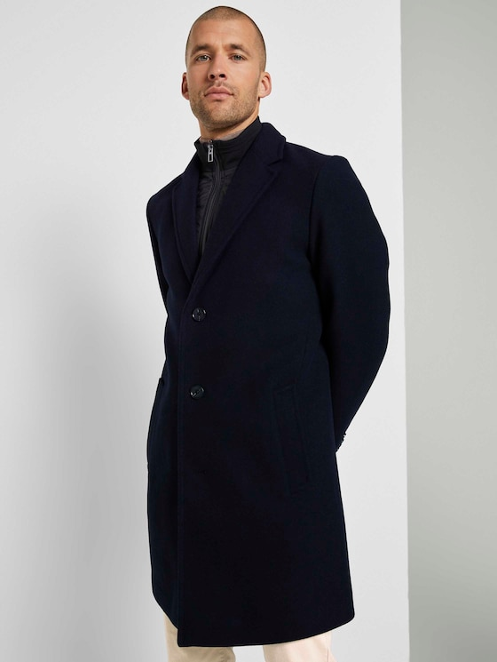 Wool coat with a detachable collar insert - Men - Sky Captain Blue - 5 - TOM TAILOR