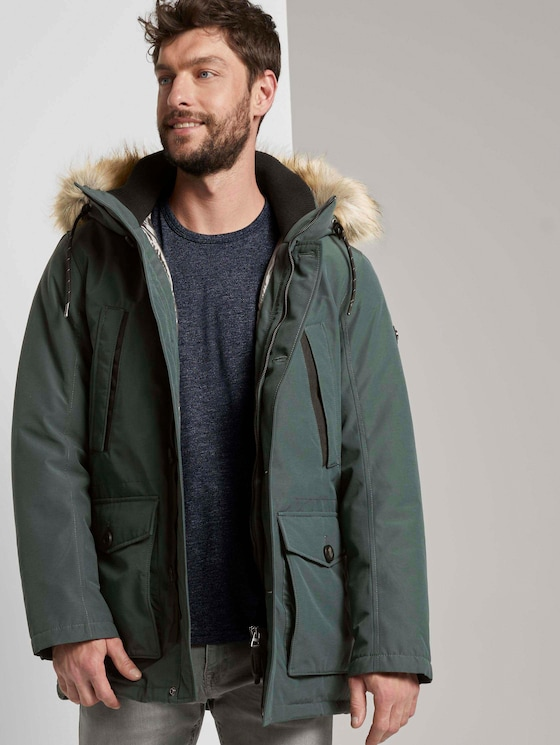 Lange Winterjacke mit Fellkragen - Männer - Dark Gable Green - 5 - TOM TAILOR