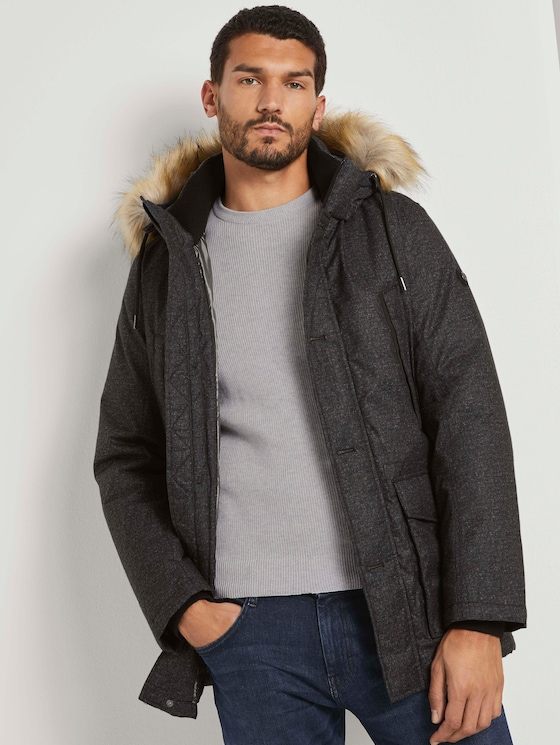 Lange Winterjacke mit Fellkragen - Männer - black minimal design - 5 - TOM TAILOR