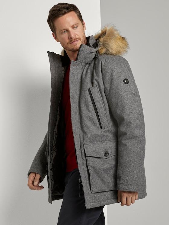 Lange Winterjacke mit Fellkragen - Männer - grey brushed wool optic - 5 - TOM TAILOR
