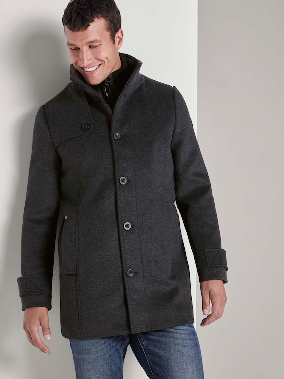 Wool coat with a quilted undercoat - Men - blue new twill structure - 5 - TOM TAILOR