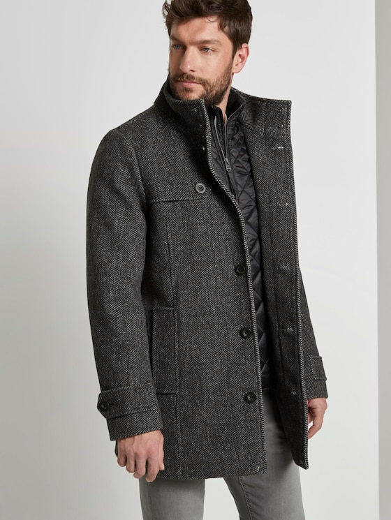 Wool coat with a quilted undercoat - Men - grey big herringbone - 5 - TOM TAILOR