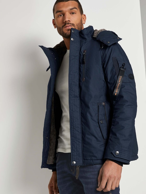 Modern winter jacket with a detachable hood - Men - Sky Captain Blue - 5 - TOM TAILOR