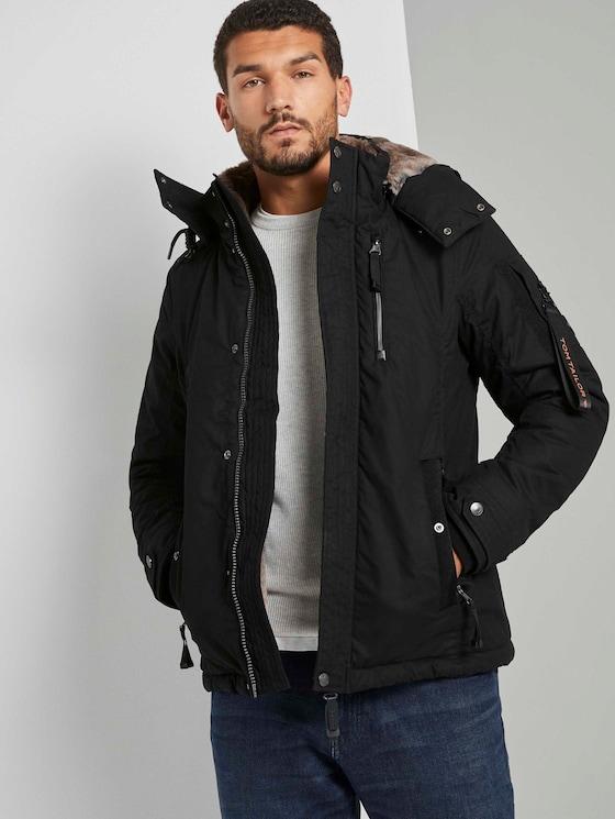 Modern winterjack met afneembare hoodie - Mannen - Black - 5 - TOM TAILOR