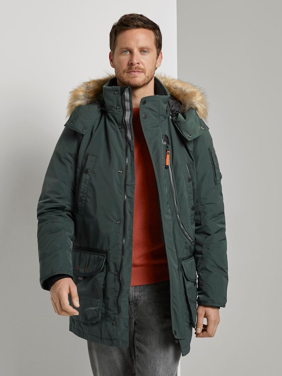 Winterparka mit Fellkapuze - Männer - Dark Gable Green - 5 - TOM TAILOR