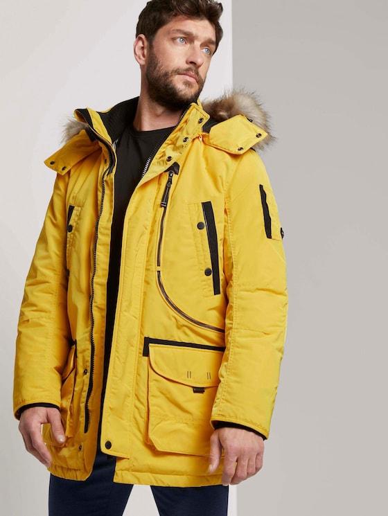 Winterparka mit Fellkapuze - Männer - Californian Yellow - 5 - TOM TAILOR