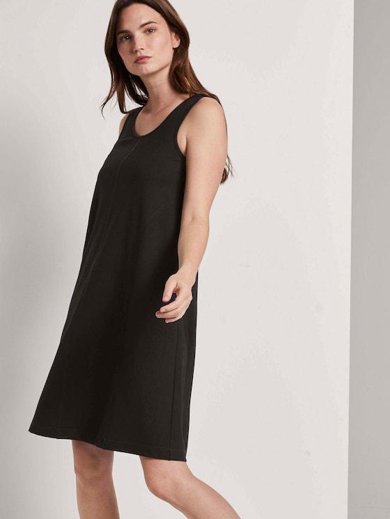 Ärmelloses Jersey-Kleid in A-Linie - Frauen - Deep Black - 5 - Mine to five