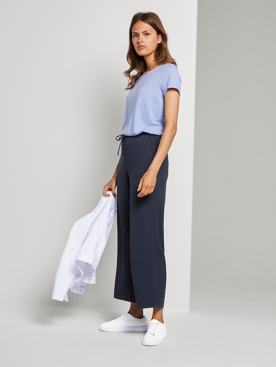 Lea Flared Hose mit breitem Bund - Frauen - Sky Captain Blue - 3 - TOM TAILOR