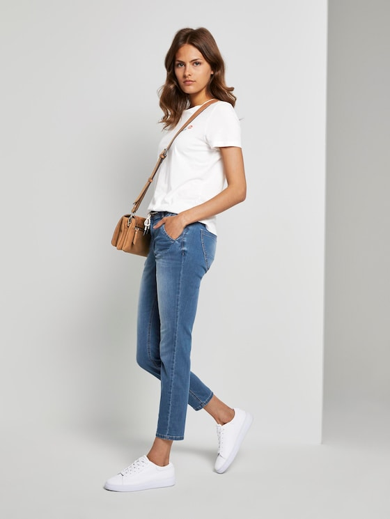 Tapered relaxed trousers with a drawstring - Women - Used Mid Stone Blue Denim - 3 - TOM TAILOR