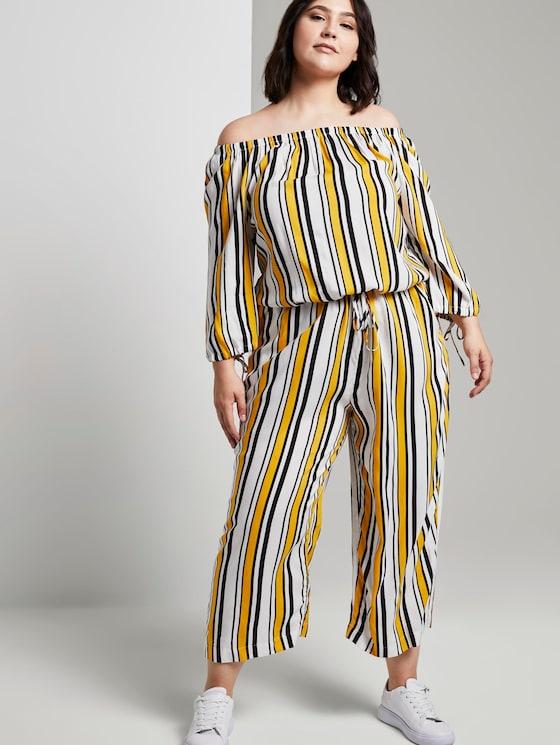 Schulterfreier Carmen-Jumpsuit im Streifenmuster - Frauen - black yellow stripe - 5 - My True Me