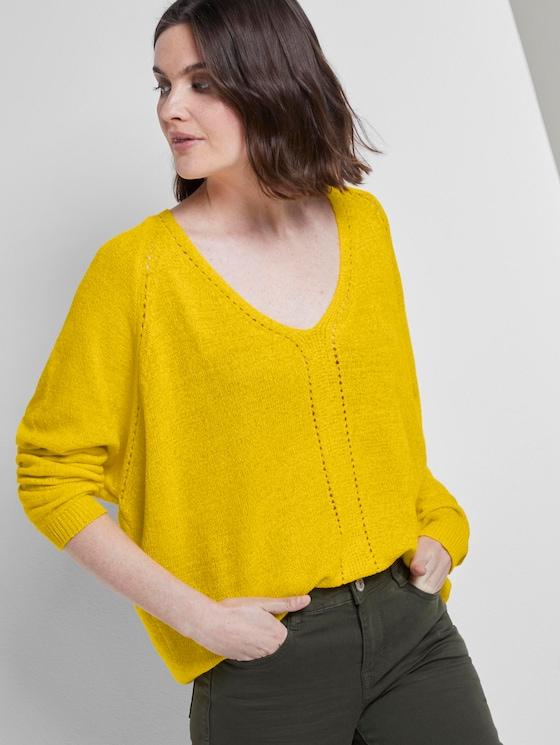 Pullover mit Fledermausärmeln - Frauen - jasmine yellow - 5 - TOM TAILOR