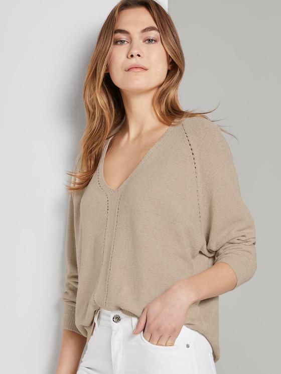 Pullover mit Fledermausärmeln - Frauen - soft vanilla - 5 - TOM TAILOR