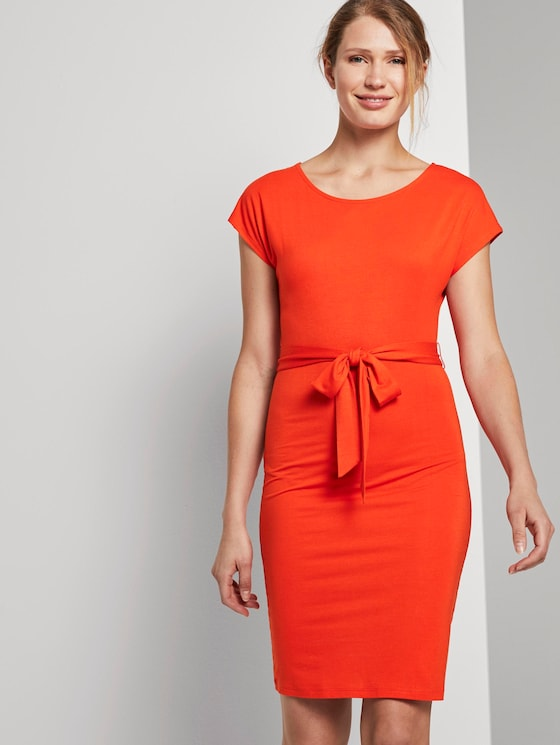 Jersey dress with a tie belt - Women - strong flame orange - 5 - TOM TAILOR