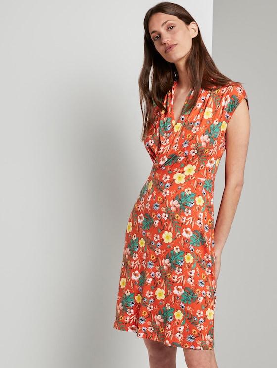 Sommerliches Kleid mit drapiertem Wickel-Ausschnitt - Frauen - red watercolor flower design - 5 - TOM TAILOR