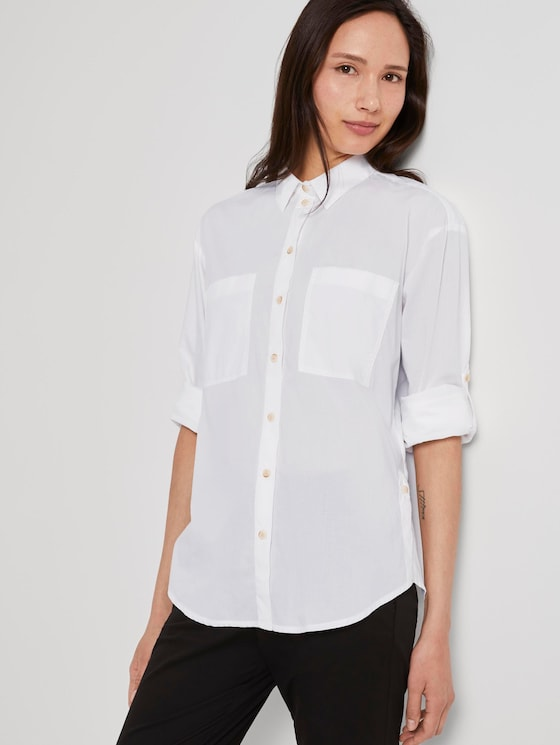 Shirt blouse with chest pockets - Women - White - 5 - TOM TAILOR