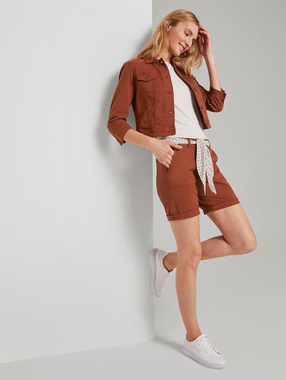 Chino Relaxed Bermuda-Shorts mit Bindegürtel - Frauen - Goji Orange - 3 - TOM TAILOR