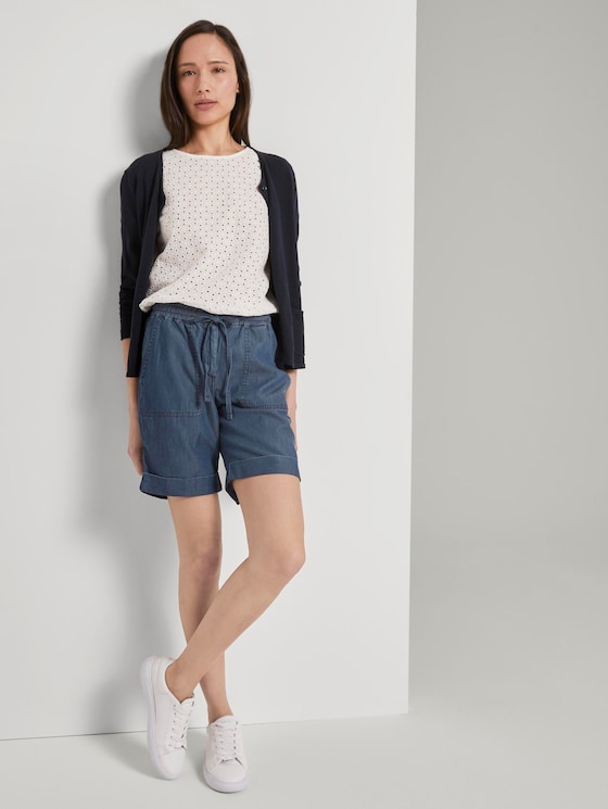 Loose Fit Bermuda-Shorts mit verstellbarem Bund - Frauen - Blue Denim - 3 - TOM TAILOR