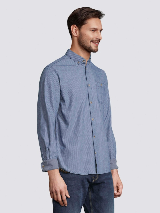 Striped shirt with a chest pocket - Men - blue with white thin stripe - 5 - TOM TAILOR