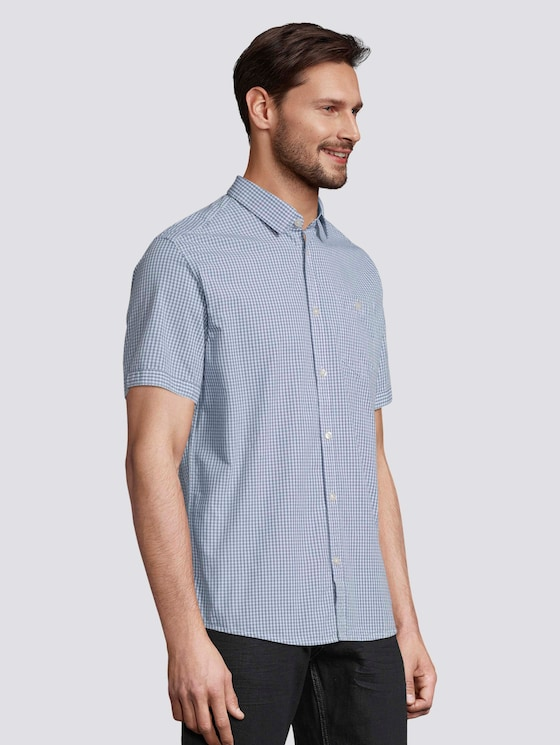 Kariertes Kurzarm-Hemd mit Brusttasche - Männer - light blue fil a fil vichy - 5 - TOM TAILOR