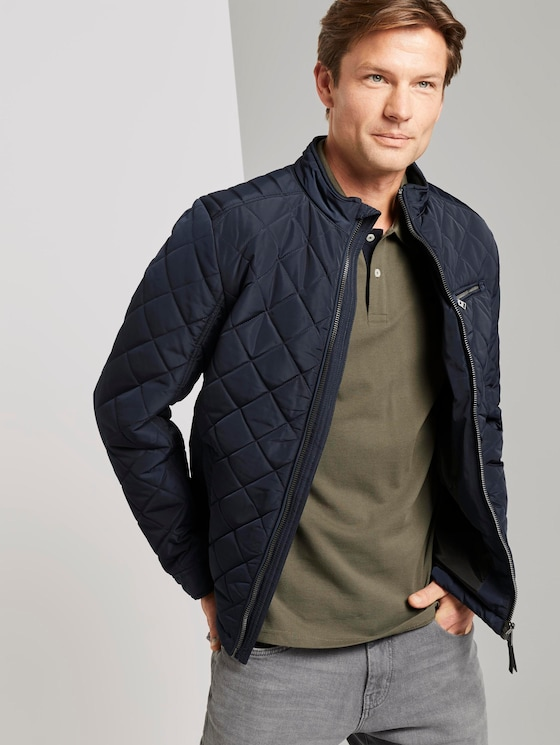 Quilted biker jacket with a stand-up collar - Men - Sky Captain Blue - 5 - TOM TAILOR
