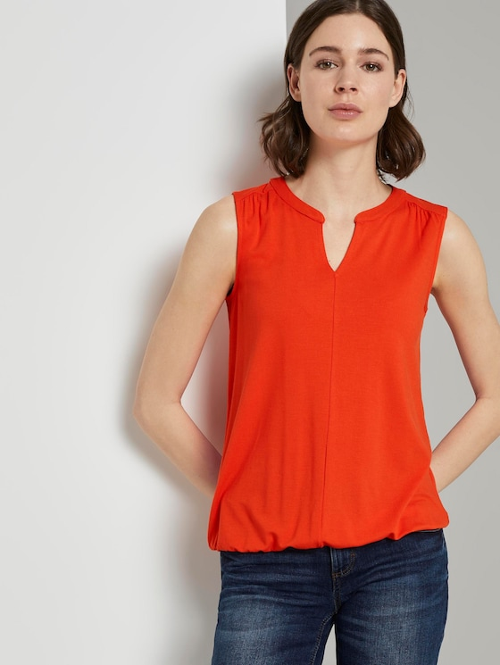 Henley top with an elasticated waistband - Women - strong flame orange - 5 - TOM TAILOR