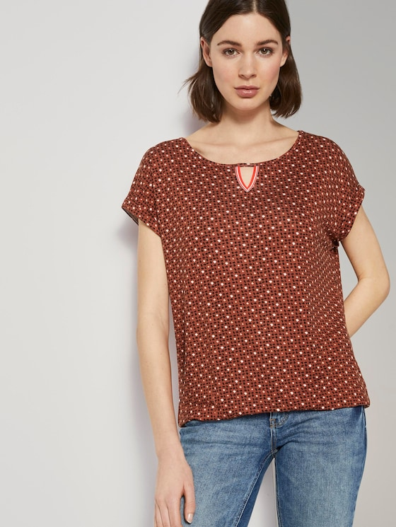 T-shirt with an all-over print with an elastic waistband - Women - brown geometric design - 5 - TOM TAILOR
