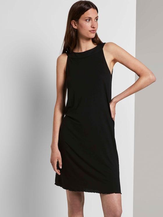 Sleeveless halter dress with a print - Women - Deep Black - 5 - TOM TAILOR
