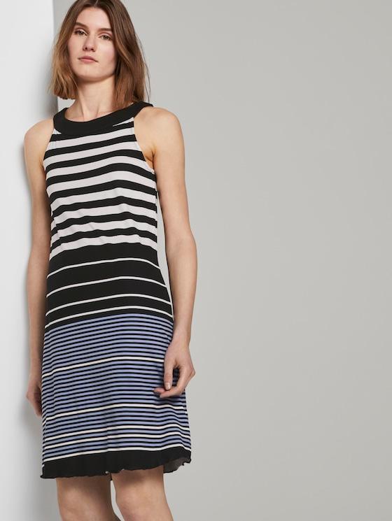 Ärmelloses Neckholder-Kleid mit Print - Frauen - black white stripe design - 5 - TOM TAILOR