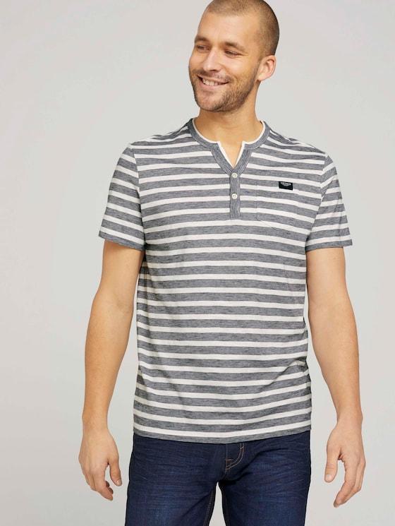 gestreiftes T-Shirt - Männer - offwhite navy striped - 5 - TOM TAILOR