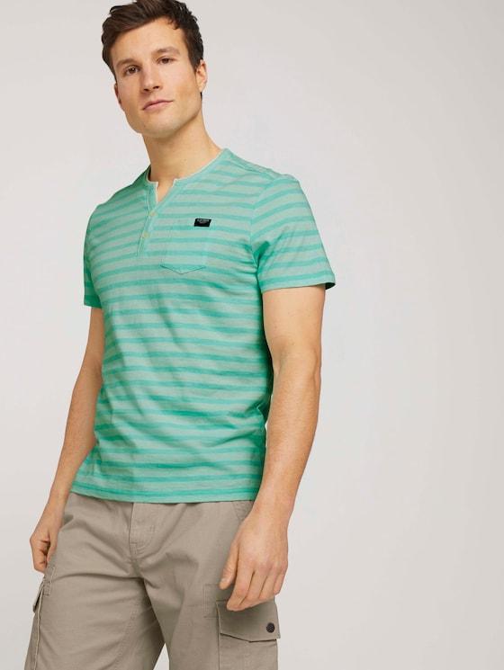 gestreiftes T-Shirt - Männer - lucite green fine stripe - 5 - TOM TAILOR