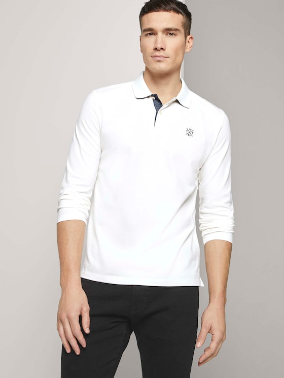 Langarm Poloshirt mit Bio-Baumwolle  - Männer - Off White - 5 - TOM TAILOR