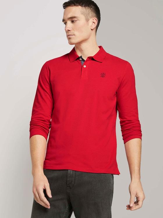 Langarm Poloshirt mit Bio-Baumwolle  - Männer - Powerful Red - 5 - TOM TAILOR