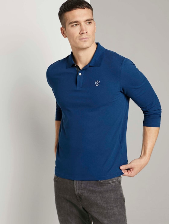 Langarm Poloshirt mit Bio-Baumwolle   - Männer - after dark blue - 5 - TOM TAILOR
