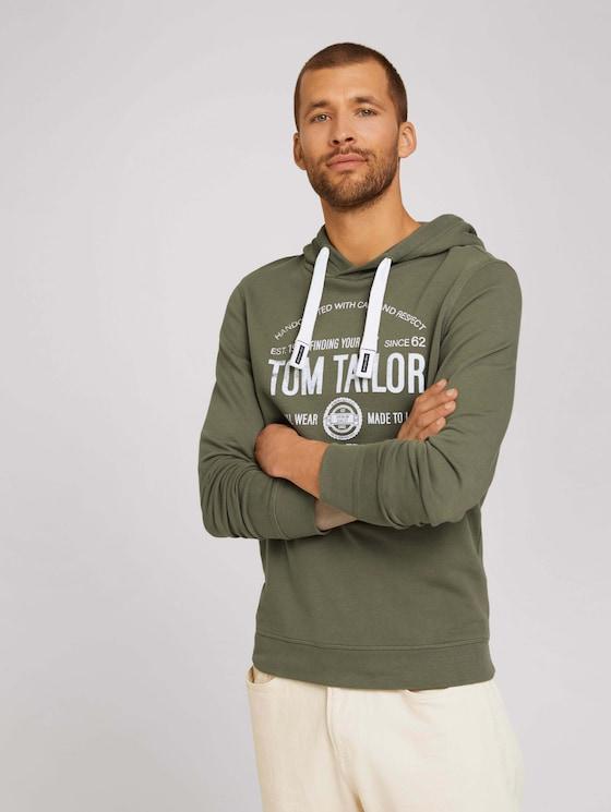 Hoodie mit Logoprint - Männer - Oak Leaf Green - 5 - TOM TAILOR